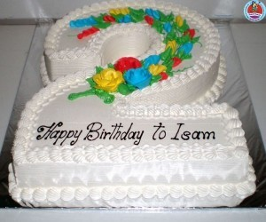 Number shape cake with colourful design