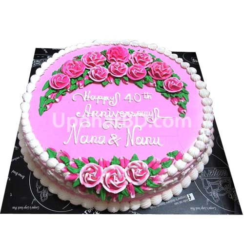 Cake with lots of pink flowers
