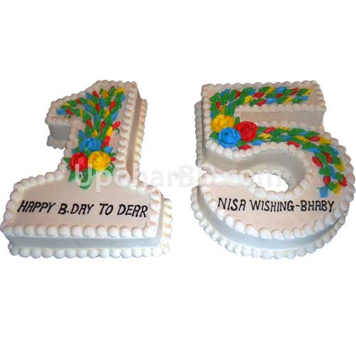 Vanilla flavour special shape cake with two numbers