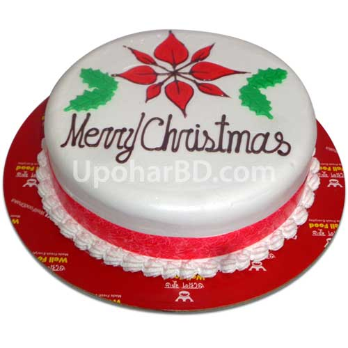 Christmas cake with ribbon