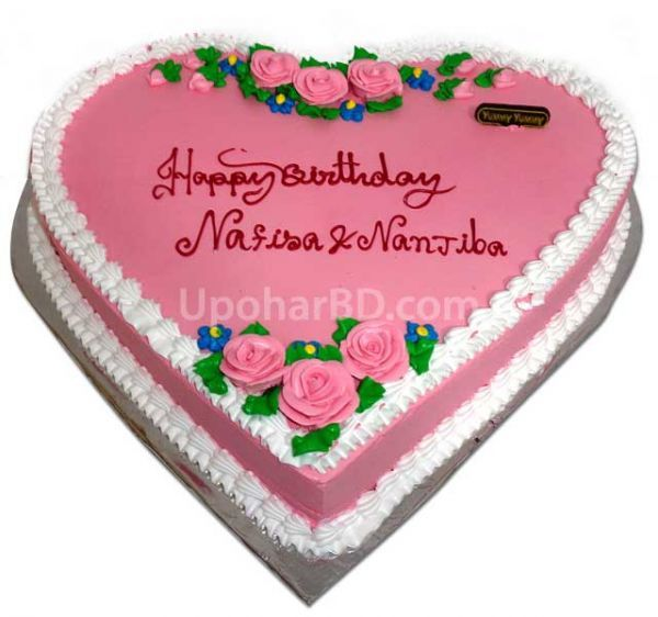 Gift cakes online - Heart shape cake with pink design ...