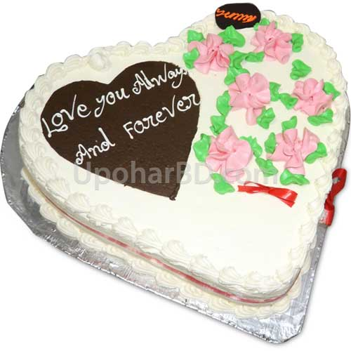 Heart shape cake with garden design