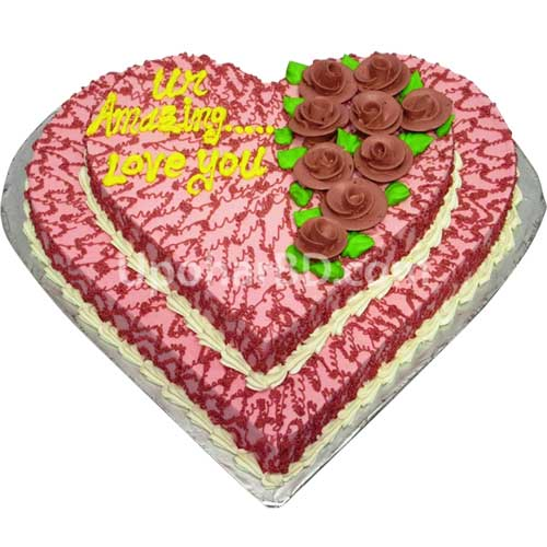 Double layer heart shape cake