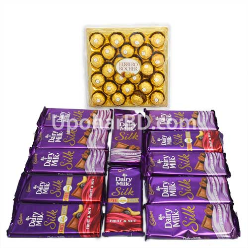 Dairy milk silk and Ferrero rocher chocolate pac