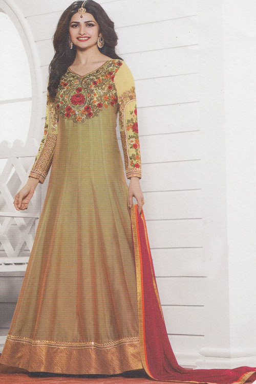 Vinay Prachi Moccasin color heavy embroidery floor touch suit