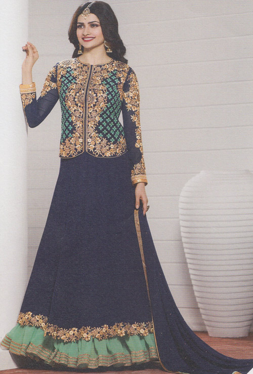 Vinay Prachi Nevy Blue color heavy embroidery floor touch suit