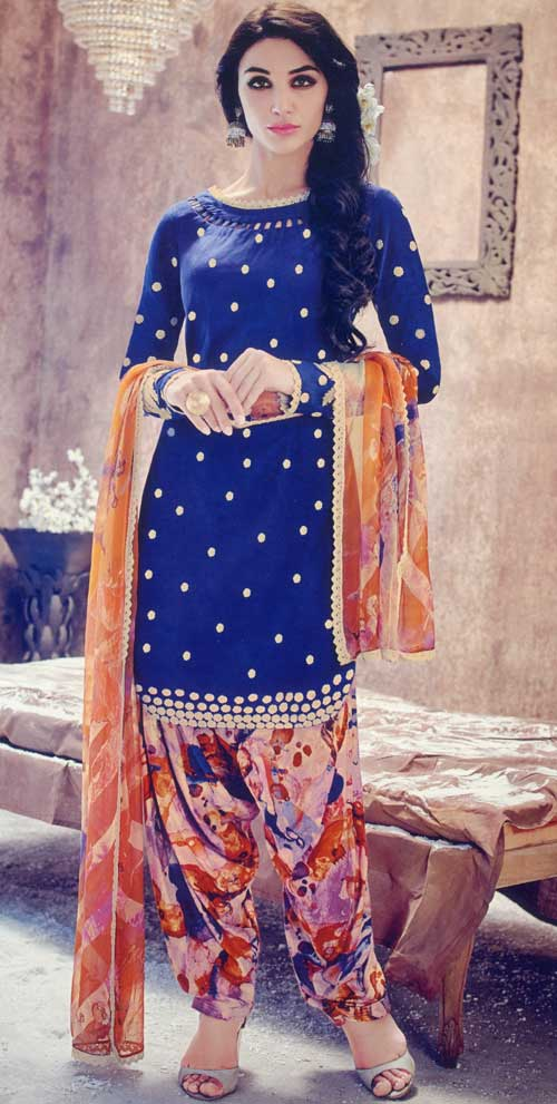 Jinaam Collection's Navy Blue and Orange Suit