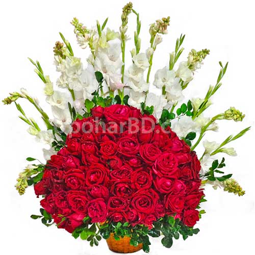 Greetings with 100 roses
