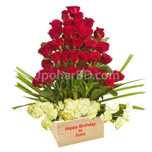 Roses with personalised message