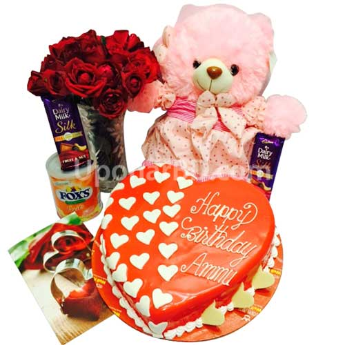 Red roses, love cake, chocolate and teddy