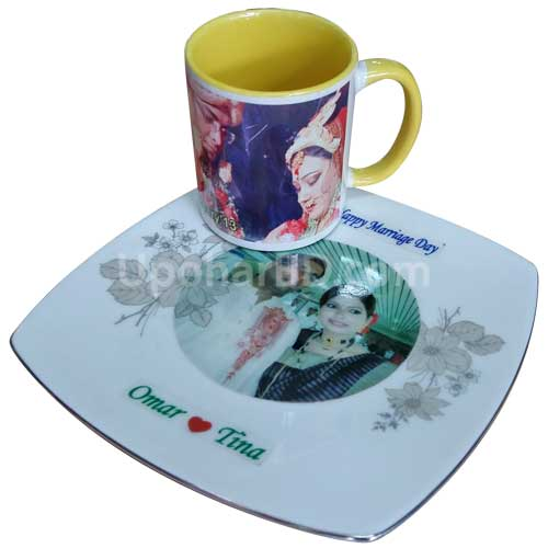Customised plate-mug set