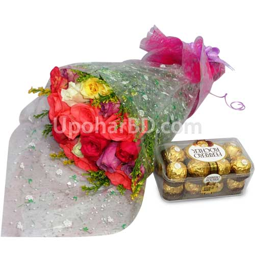 Shiny roses with chocolate