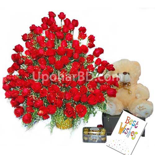 Valentine gift package with massive 200 rose bouquet for Sylhet