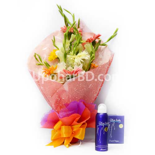 Blue lady package with flowers