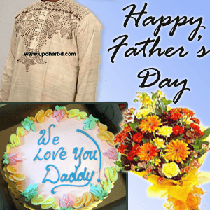 Gift for Father with Aarong Panjabi, Cake & flower