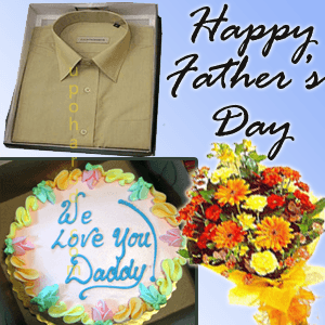 Hamper for him with shirt, cake and bouquet