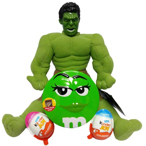 Hulk with a M&M box and kinder joy
