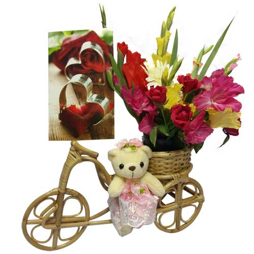 Cane Rickshaw with Flower and Teddy