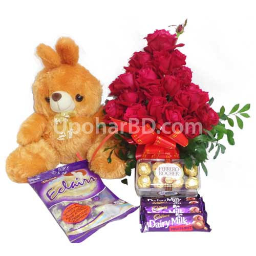 Chocolates, teddy and red roses