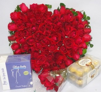 Roses, perfume and chocolate for her