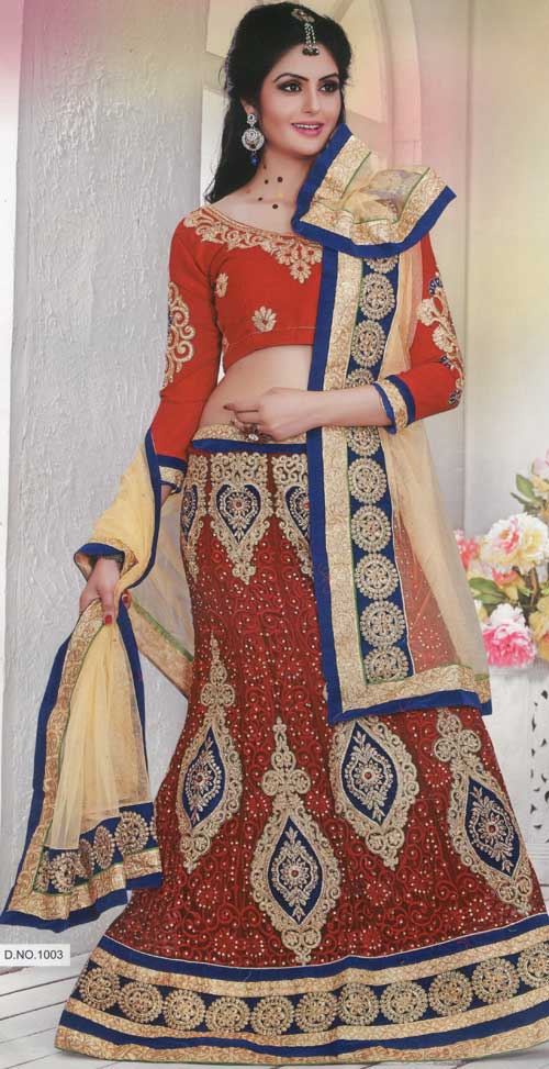 Hot star red wine lehenga with embroidery