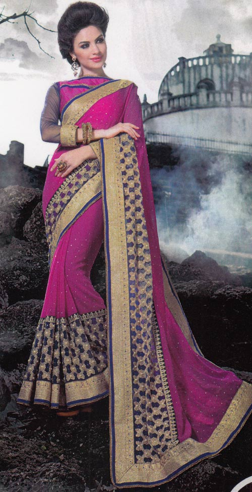 Pink Embroidered Saree by Julahaa