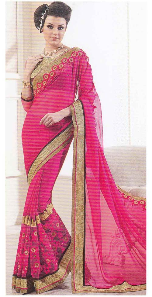 Hot Pink soft Georgette Border Work by Kalista Fashions