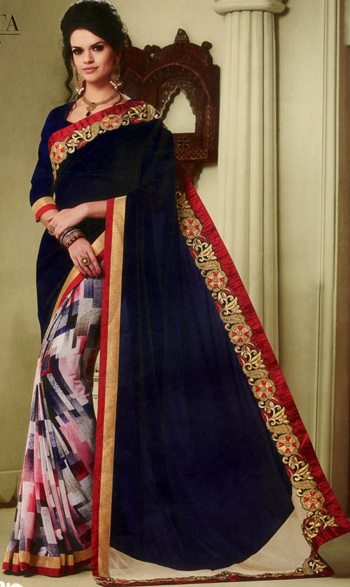 Navy Blue georgette with multicolor print by Kalista Fashions