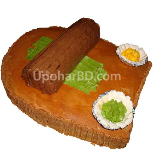 Plate Decoration For Gaye Holud: Sheel-Pata Shaped Gaye Holud Cake