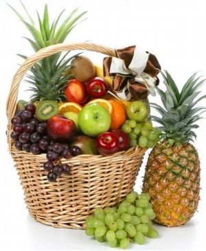 Fruit basket with Pineapple and grapes