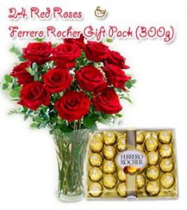 24 Red Roses with 300g Fererro Rocher