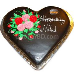 Heart shape rich chocolate cake with roses