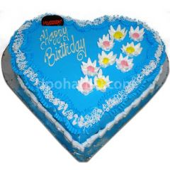 Heart shape cake with blue design