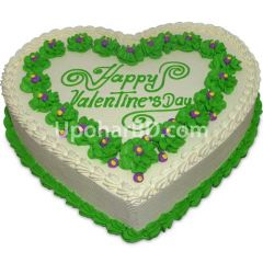 Heart shape cake with green design