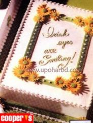 Cake with green frame and yellow flower