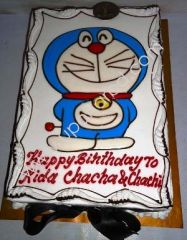 Doraemon cartoon designed cake on birthday