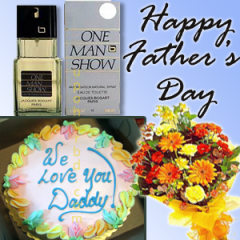 Gift basket with One Man Show perfume, Cake & Bouquet