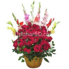 Red Rose with Gladiolus