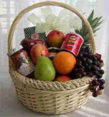 Fruit and goodies basket
