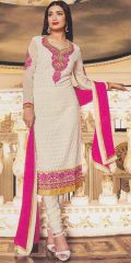 White-Pink Designer Exclusive Fancy Traditional suit by Zubeda collection