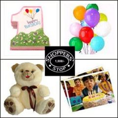 Birthday gift package with number shape cake and the lot