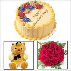 Gift package with cake, teddy and rose