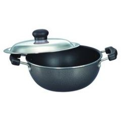 Flat Base Deep cooking pot, 200 mm with Lid