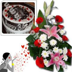 Gift with Coopers cake and exclusive bouquet
