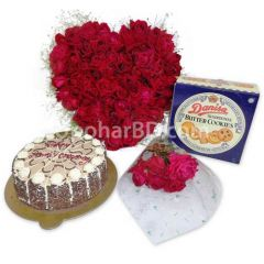 Gift combo with 50 red rose in heart shape, cake and cookies