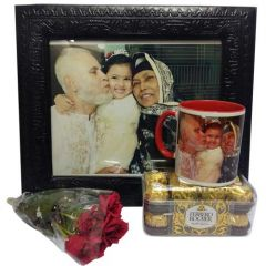 Printed Mug and Aarong Leather Frame Combo with Chocolate