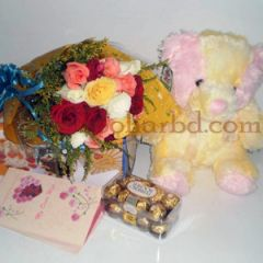 Rose delight with teddy and chocolate