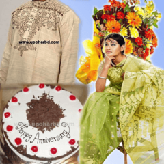 Package for both of them with Panjabi, Jamdani Sari, Cake and Flower