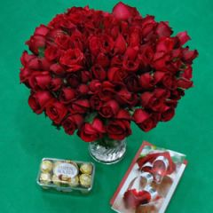 100 Roses with Chocolate