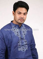 Cotton panjabi in Navy Blue colour